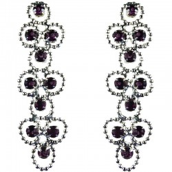 Bridal Costume Jewellery, Fashion Wedding Gift, Bib Purple Diamante Link Circle Dress Drop Earrings