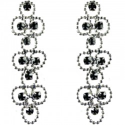 Bridal Costume Jewellery, Fashion Wedding Gift, Bib Black Diamante Link Circle Dress Drop Earrings