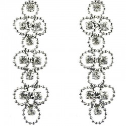 Bridal Costume Jewellery, Fashion Wedding Gift, Bib Clear Diamante Link Circle Dress Drop Earrings