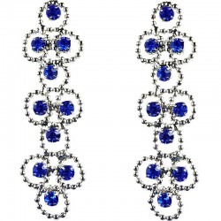 Fashion Women Gift, Bib Costume Jewellery, Royal Blue Diamante Link Circle Dress Drop Earrings