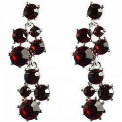 Bridal Costume Jewellery, Fashion Wedding Gift, Red Diamante Bib Dressy Drop Earrings
