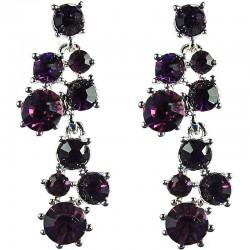 Bridal Costume Jewellery, Fashion Wedding Gift, Purple Diamante Bib Dressy Drop Earrings