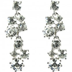 Bridal Costume Jewellery, Fashion Wedding Gift, Clear Diamante Bib Dressy Drop Earrings