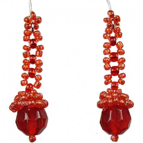 Unique Bead Costume Jewellery, Women' s Gift, Red Art Deco Beaded Drop Earrings