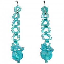Beads Costume Jewellery, Fashion Women's Gift, Blue Art Deco Beaded Drop Earrings