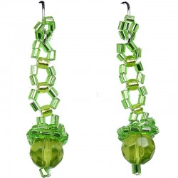 Women's Costume Jewellery, Fashion Gift, Green Art Deco Beaded Drop Earrings