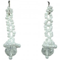 Women's Costume jewellery, Fashion Gift, White Art Deco Beaded Drop Earrings