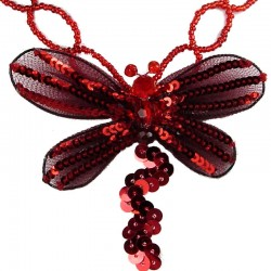 Red Dancing Dragonfly Bead Sequin Necklace