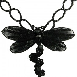 Black Dancing Dragonfly Bead Sequin Necklace