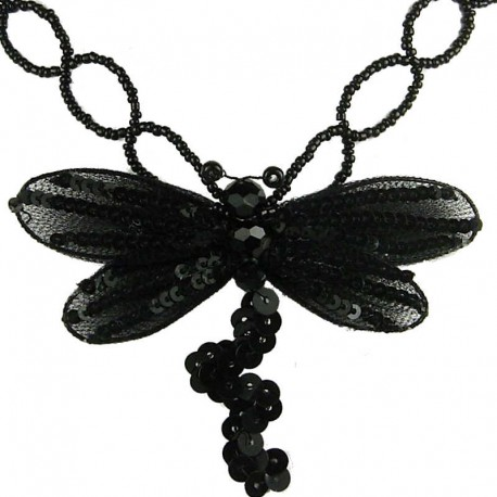 Fashion Costume Jewellery, Women's Gift, Black Dancing Dragonfly Bead Sequin Necklace