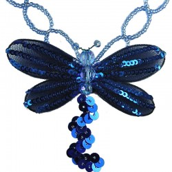 Fashion Costume Jewellery, Women's Gift, Royal Blue Dancing Dragonfly Bead Sequin Necklace