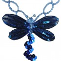 Royal Blue Dancing Dragonfly Bead Sequin Necklace