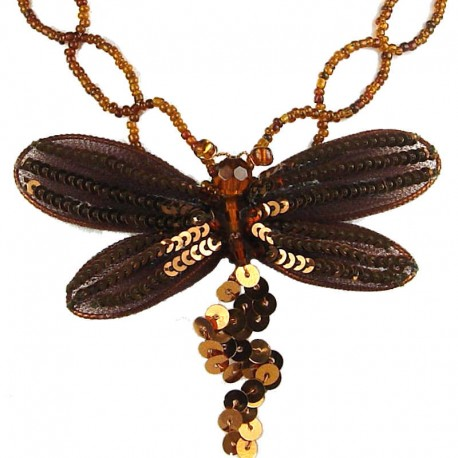 Women's Costume Jewellery, Fashion Gift, Brown Dancing Dragonfly Bead Sequin Necklace