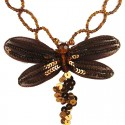 Brown Dancing Dragonfly Bead Sequin Necklace