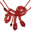 Red Art Deco Beaded Adore Bow Bead Necklace