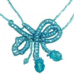 Blue Art Deco Beaded Adore Bow Bead Necklace