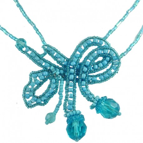 Women's Costume Jewellery, Fashion Gift, Blue Art Deco Beaded Adore Bow Bead Necklace