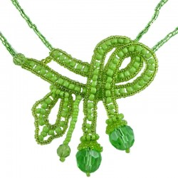 Women's Costume Jewellery, Fashion Gift, Green Art Deco Beaded Adore Bow Bead Necklace
