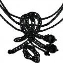 Black Beaded Swirl Wave Bead Necklace