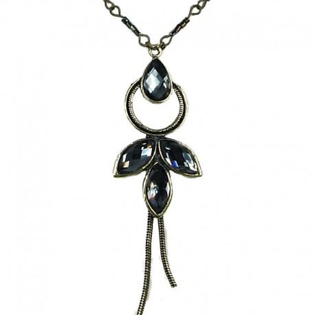 Fashion Costume Jewellery, Grey Diamante Teardrop Fairy Necklace