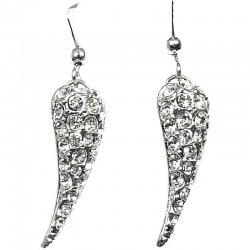 Fashion Women Costume Jewellery Gift, Clear Diamante Pave Water Drop Earrings