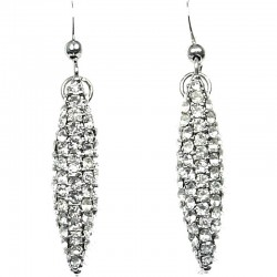 Women Costume Jewellery, Fashion Gift, Clear Diamante Pave Teardrop Dangle Drop Earrings