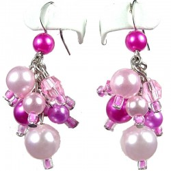 Chic Fashion Jewellery, Pink Illusion Costume Pearl Cluster Dangle Earrings