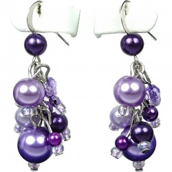 Chic Costume Jewellery, Purple Illusion Fashion Pearl Cluster Dangle Earrings