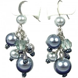 Chic Fashion Jewellery, Grey Illusion Costume Pearl Cluster Dangle Earrings