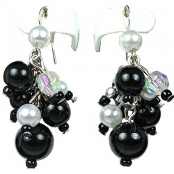 Chic Fashion Jewellery, Black Illusion Costume Pearl Cluster Dangle Earrings