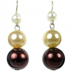 Simple Costume Jewellery, Women Girls Gift, Brown & Gold Pearl Drop Earrings