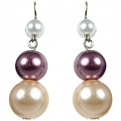 Champagne & Lilac Pearl Drop Earrings