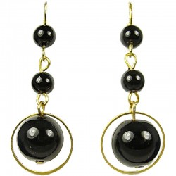 Gold Plated Black Pearl Drop Earrings