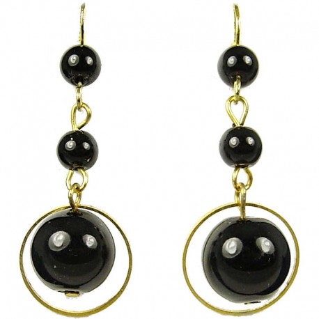 Clic Costume Jewellery Chic Fashion Women Gift Gold Plated Black Pearl Drop Earrings