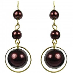 Gold Plated Brown Pearl Drop Earrings