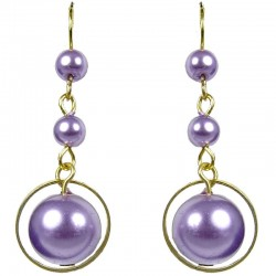 Gold Plated Purple Pearl Drop Earrings