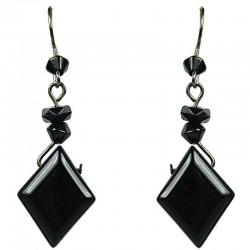 Handmade Costume Jewellery, Fashion Women Girls Gift, Black Rhombus Bead Drop Earrings