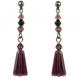 Simple Costume Jewellery, Fashion Women Girls Gift, Purple Trapezium Bead Drop Earrings