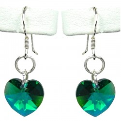 Fashion Women Costume Jewellery, Dark Green Crystal Heart 925 Sterling Silver Hook Drop Earrings