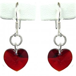 Fashion Women Costume Jewellery, Ruby Red Crystal Heart Sterling Silver 925 Hook Drop Earrings