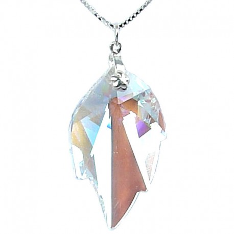 Fashion Women 925 Costume Jewellery, Clear AB Crystal Leaf Pendant & Sterling Silver Chain Necklace