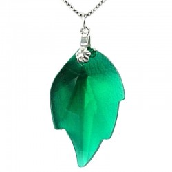 Green Crystal Leaf Pendant & Sterling Silver Chain Necklace