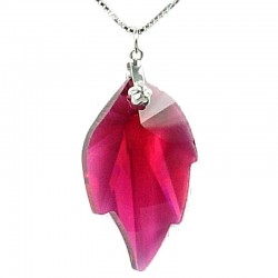 Hot Pink Fashion Women 925 Costume Jewellery, Fuchsia Crystal Leaf Pendant & Sterling Silver Chain Necklace