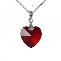Fashion Women 925 Love Costume Jewellery, Ruby Red Crystal Heart Pendant & Sterling Silver Chain Necklace