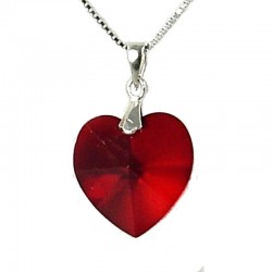 Ruby Red Crystal Heart 18mm Pendant & Sterling Silver Chain Necklace