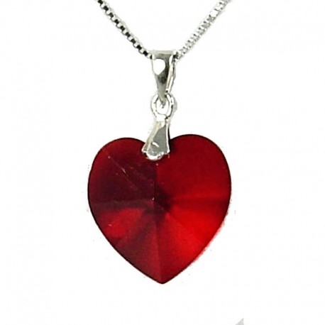 Fashion Women 925 Chic Costume Jewellery, Ruby Red Crystal Heart 18mm Pendant & Sterling Silver Chain Necklace