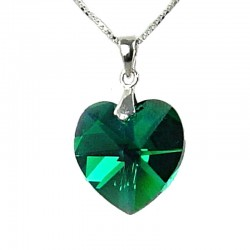 Fashion Women 925 Costume Jewellery, Green Crystal Heart 18mm Pendant & Sterling Silver Chain Necklace