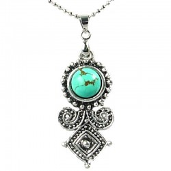 Fashion Costume Jewellery, Women's Girls Gift, Round Turquoise Ethnic Tribal Style Pendant Necklace