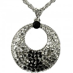 Fashion Costume Jewellery, Women' Girls Gift, Black & Clear Monochrome Diamante Loop Circle Pendant Necklace