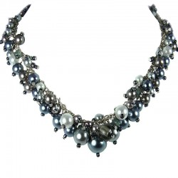 Fashion Statement Costume Jewellery, Grey Illusion Pearl Cluster Necklace